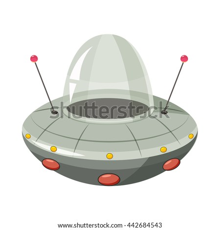 Ufo spaceship icon in cartoon style on a white background - stock vector