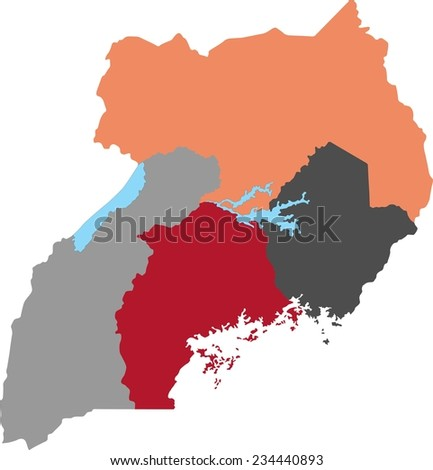 Uganda political map with pastel colors. - stock vector