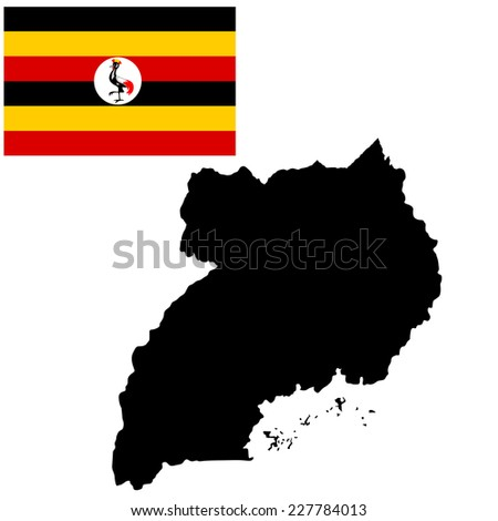 Uganda vector map high detailed illustration isolated on white background. Original and simple Uganda flag isolated vector in official colors and Proportion  - stock vector