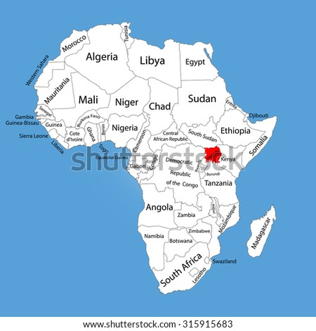 Uganda vector map silhouette isolated on Africa map. Editable vector map of Africa. - stock vector