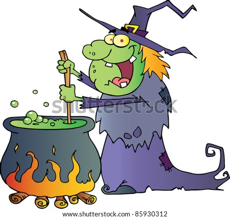 Ugly Halloween Witch Preparing A Potion - stock vector