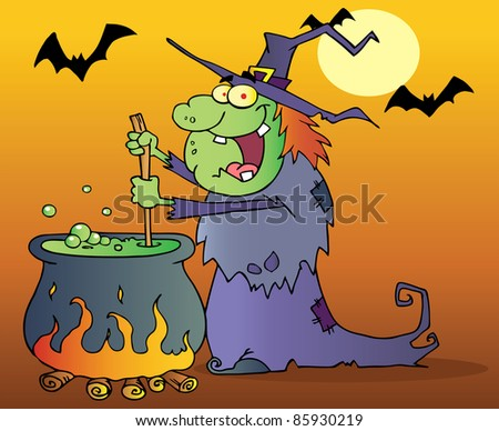 Ugly Witch Preparing A Potion In Halloween Night - stock vector
