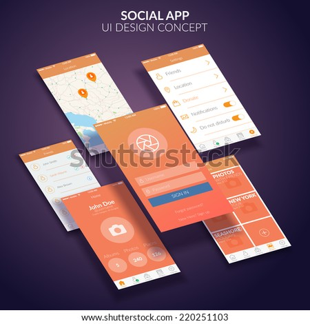 UI design concept. Mobile app design. Vector Illustration, eps10, contains transparencies. - stock vector