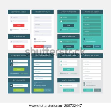 UI elements, 4 sets of login, newsletter and registration form, flat vector design - stock vector