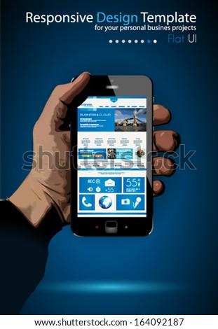 UI Flat Design Elements in a modern Smartphone ina hand: Original web template - stock vector