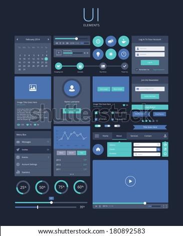 UI flat design elements, modern, dark - stock vector