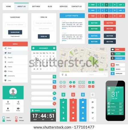 UI flat design web elements - stock vector
