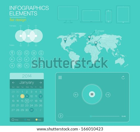 UI flat design web elements, icons, calendar and Map of World. Easy to edit country. - stock vector