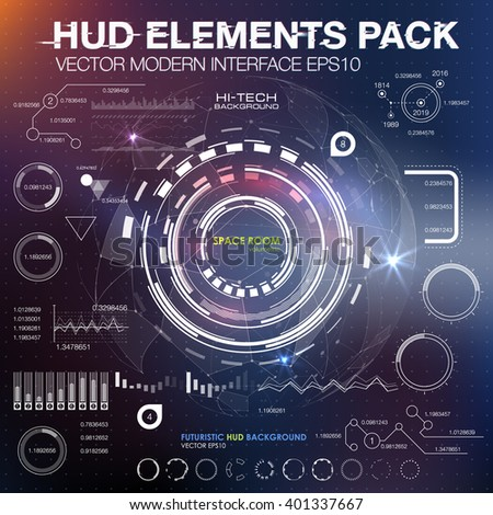 UI hud infographic interface web elements. Futuristic space thin HUD user interface. Web UI interface elements, UI elements, UI design, UI vector icons. Game target navigation interface hud ui design - stock vector