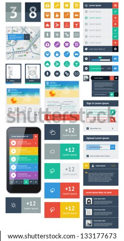 UI is a set of beautiful components featuring the flat design trend - stock vector