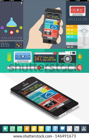 UI is a set of components featuring the flat design trend, UI flat design web elements - stock vector
