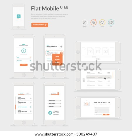 UI kit for mobile templates with icons - stock vector