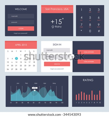 Ui kit for website and mobile app designs - stock vector