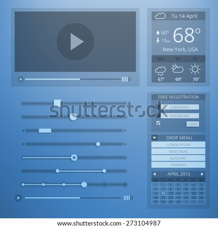 UI transparency flat design of web elements. Setting and website menu, weather and control, account and data, webpage and video player. Vector illustration - stock vector