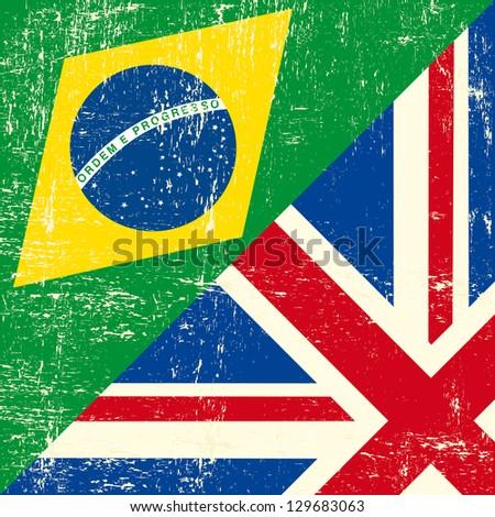 UK and brazilian grunge flag - stock vector
