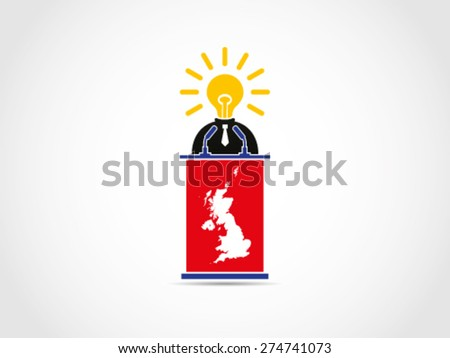 UK Britain Brilliant Meaningful Idea Solution Speech - stock vector