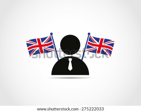 UK Britain Businessman Politician Candidate Flags - stock vector