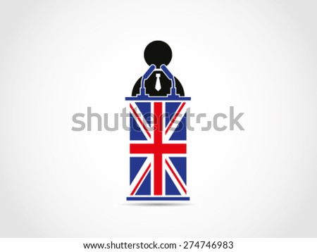 UK Britain Businessman Politician Speaking - stock vector