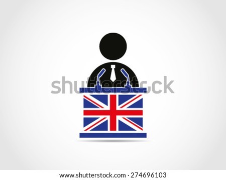 UK Britain Politician Candidate Speech Campaign Project Solution Idea Policy - stock vector