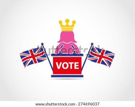 UK Britain Queen Speech Elections Speech Podium Policy - stock vector