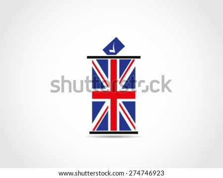 UK Britain Vote Check Mark Ballot Box - stock vector