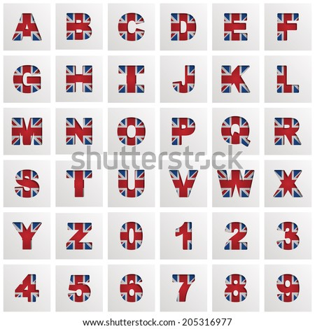 uk flag alphabet with letters and numbers on square icons, isolated on white with transparencies - stock vector