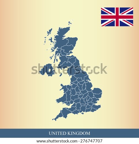 UK flag and map outlines with boundaries of counties or provinces or states on an abstract background, vector map of United Kingdom with British Flag  - stock vector
