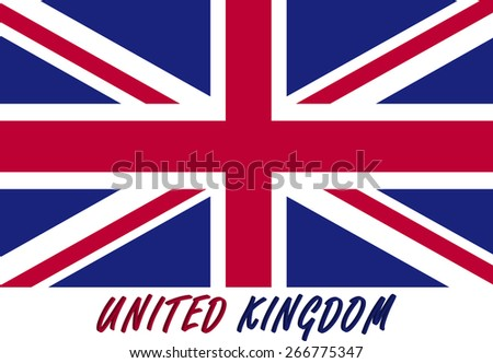 UK flag in an Abstract 3D background, a conceptual design of United Kingdom (Great Britain) flag with its name colored with the flag colors, red and blue - stock vector