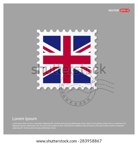 UK Flag Postage Stamp on white background. Vector illustration. - stock vector