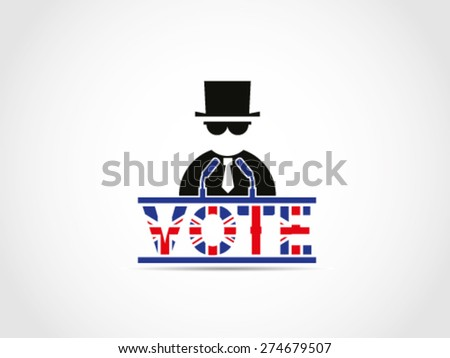 UK Great Britain Elections Mafia Power Business Corporation Politician Manipulation Money Support Bargain Policy Money Company Campaign - stock vector