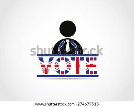 UK Great Britain Elections Politician Speech Campaign Programs Solution Idea Projection - stock vector