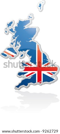 UK map with the uk flag inside into a placard shape - stock vector