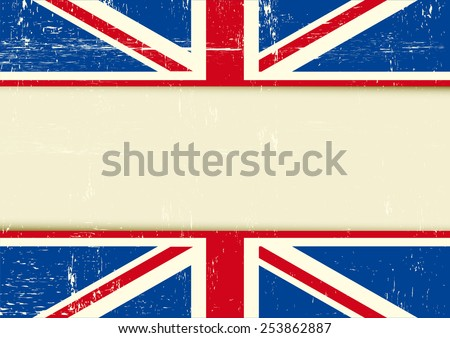 UK scratched horizontal background. Horizontal background with the Union Jack flag and a frame for your message. Ideal for a screen - stock vector