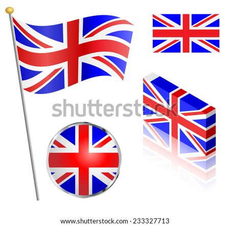 UK Union Jack flag on a pole, badge and isometric designs vector illustration.  - stock vector