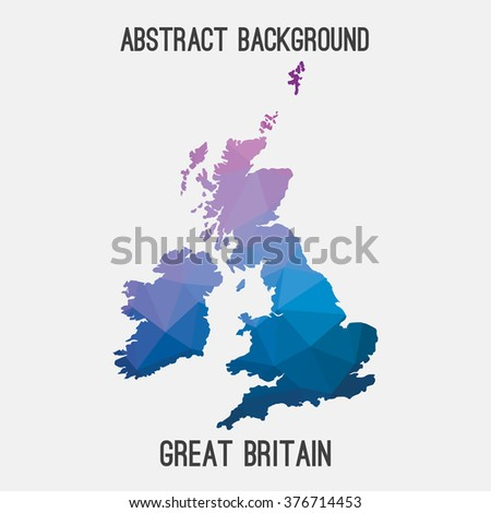UK,United Kingdom,Great Britain map in geometric polygonal style.Abstract tessellation,modern design background. Vector illustration EPS8 - stock vector