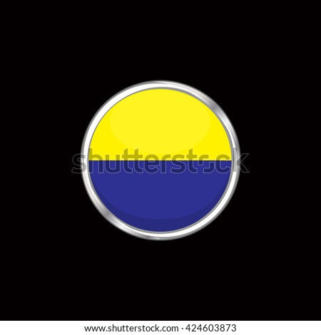 Ukraine flag isolated on black background. Ukrainian flag button in silver ring. Euro cup 2016 France. Ukraine participant, group C. Euro 2016 football championship. Eurocup, euro cup, fifa world cup - stock vector