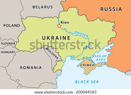 Ukraine map after Crimean crisis 2014. New Ukraine and Russian Federation borders. Fully editable vector graphics. - stock vector