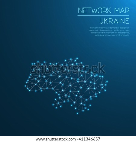 Ukraine network map. Abstract polygonal map design. Internet connections vector illustration. - stock vector