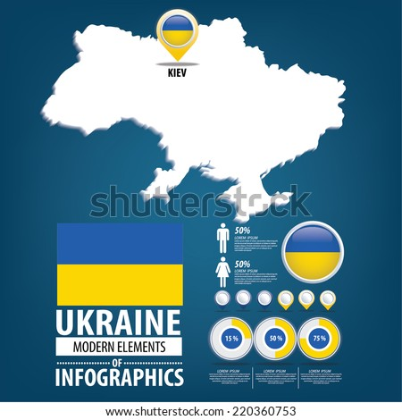 Ukraine vector set. flags and icons isolated on white background. - stock vector