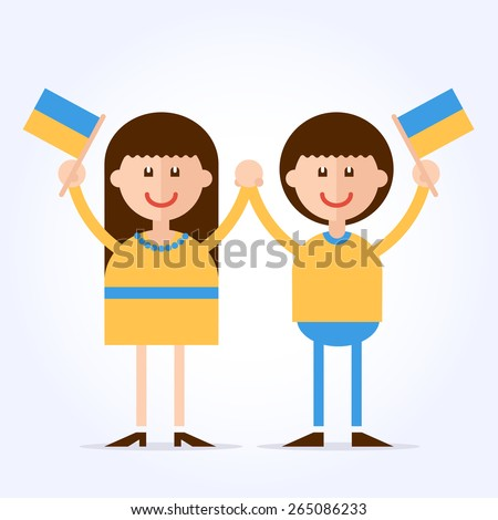 Ukrainian couple. Girl and boy holding hands in the national colors of clothes with flags in their hands. Cartoon characters. Fully editable vector illustration.