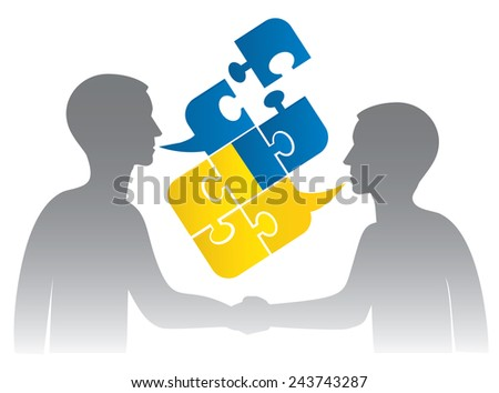 Ukrainian dialog. Two men shake hand and Puzzle bubble talk with a Ukrainian flag symbolizing Ukrainian conversation or bad political dialog and conflict. Vector illustration. - stock vector