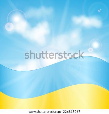 Ukrainian flag on a background of sky and sun - stock vector