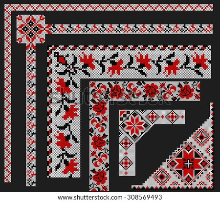 Ukrainian ornament Corner frames - stock vector