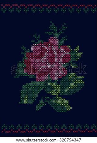 Ukrainian traditional embroidered rose vector / ukrainian flower  - stock vector