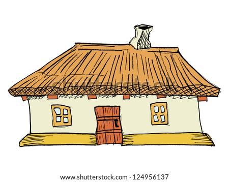 Ukrainian traditional house - stock vector