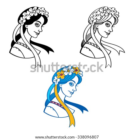 Ukrainian woman in a wreath of flowers with ribbons - stock vector