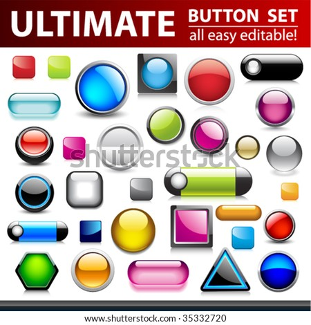 Ultimate button set for web design. Vector. - stock vector