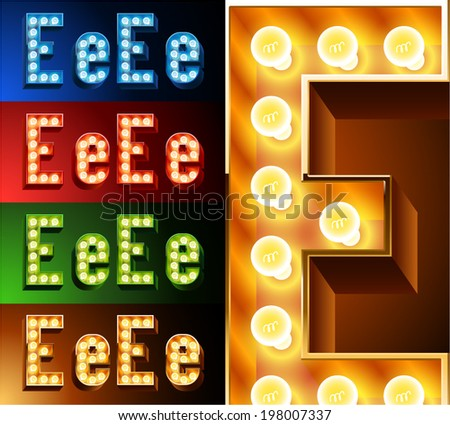 Ultimate realistic lamp board alphabet. Condensed style. Left and right options. Multicolored. Letter e - stock vector