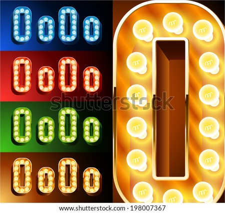 Ultimate realistic lamp board alphabet. Condensed style. Left and right options. Multicolored. Letter o - stock vector