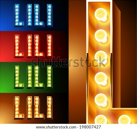 Ultimate realistic lamp board alphabet. Condensed style. Left and right options. Multicolored. Letter l - stock vector